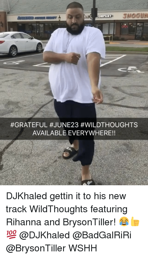 Memes, Rihanna, and Wshh: OMPANY  #GRATEFUL #JUNE 23 #WILDTHOUGHTS  AVAILABLE EVERYWHERE!! DJKhaled gettin it to his new track WildThoughts featuring Rihanna and BrysonTiller! 😂👍💯 @DJKhaled @BadGalRiRi @BrysonTiller WSHH