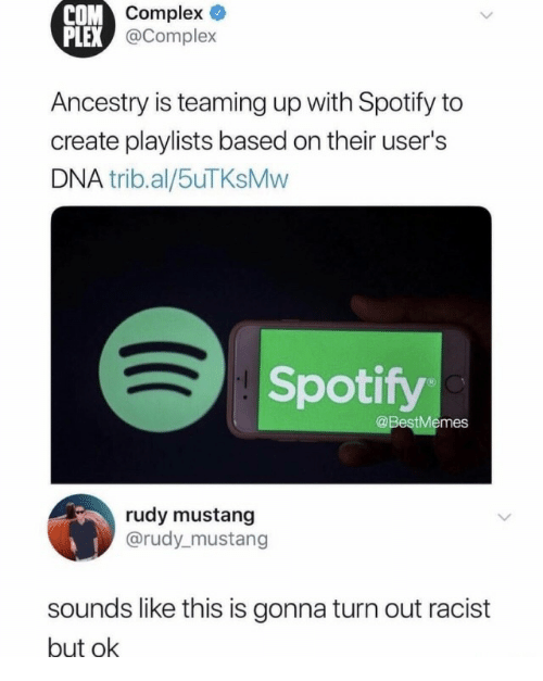 Plex: ompex  @Complex  COM  PLEX  Ancestry is teaming up with Spotify to  create playlists based on their user's  DNA trib.al/5uTKsMvw  Spotify  @BestMemes  rudy mustang  @rudy_mustang  sounds like this is gonna turn out racist  but ok