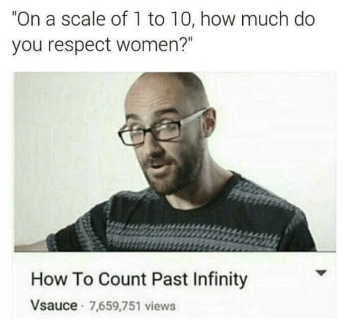 """On A Scale Of 1 To 10: """"On a scale of 1 to 10, how much do  you respect women?""""  How To Count Past Infinity  Vsauce 7,659,751 views"""