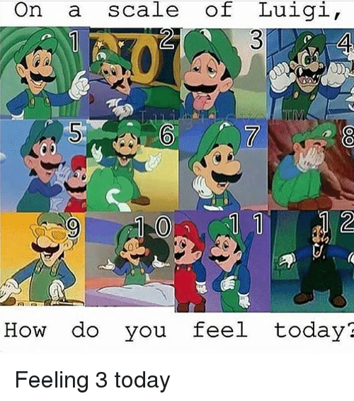 Memes, Today, and 🤖: On a scale of Luigi  How do you feel today? Feeling 3 today