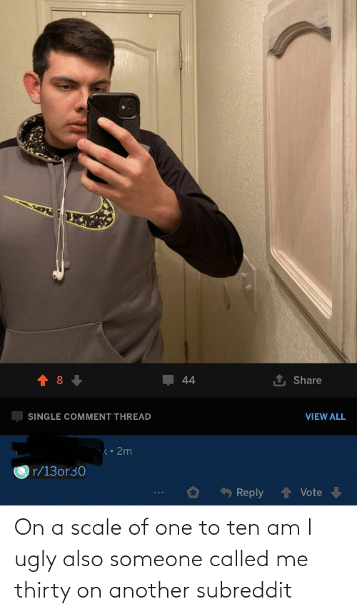 On A Scale Of: On a scale of one to ten am I ugly also someone called me thirty on another subreddit