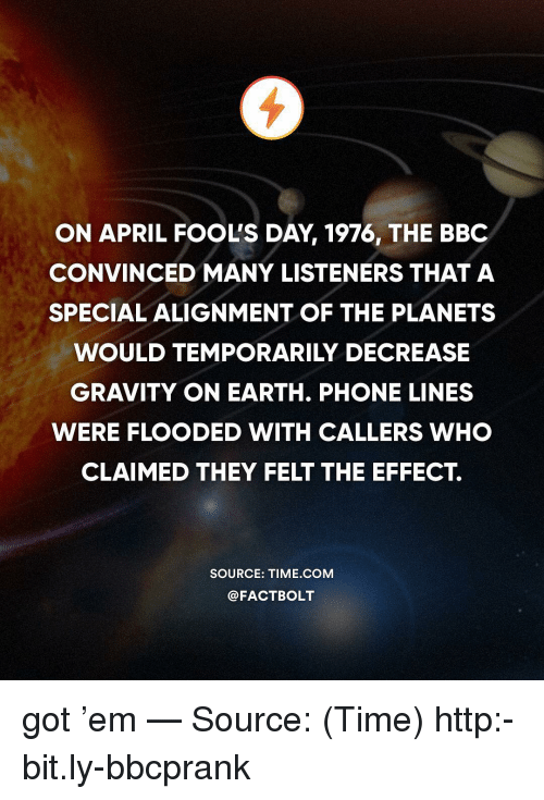 alignment: ON APRIL FOOL'S DAY, 1976, THE BBC  CONVINCED MANY LISTENERS THAT A  SPECIAL ALIGNMENT OF THE PLANETS  WOULD TEMPORARILY DECREASE  GRAVITY ON EARTH. PHONE LINES  WERE FLOODED WITH CALLERS WHO  CLAIMED THEY FELT THE EFFECT.  SOURCE: TIME COM  @FACTBOLT got 'em — Source: (Time) http:-bit.ly-bbcprank