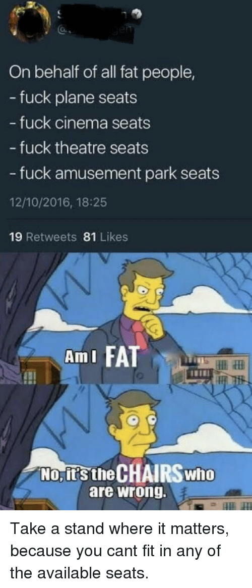 ami: On behalf of all fat people,  - fuck plane seats  fuck cinema seats  - fuck theatre seats  - fuck amusement park seats  12/10/2016, 18:25  19 Retweets 81 Likes  AmI FA  No, it's the CHAIRS who  are wrong. Take a stand where it matters, because you cant fit in any of the available seats.