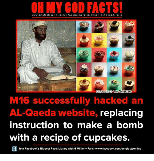 ohm: ON MY GOD FACTS!  www.omg facts online.com I fb.com  gfacts on  line a ohm god facts  Qmagesource  The Telegraph  M16 successfully hacked an  AL-Qaeda website, replacing  instruction to make a bomb  with a recipe of cupcakes.  Join Facebook's Biggest Facts Library with 6 Million+ Fans- www.facebook.com/omgfactsonline