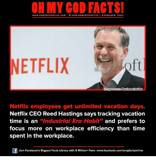 """Memes, Library, and Vacation: ON MY GOD FACTS!  www.omg facts online.com  I fb.com  omg facts online I a ohm ygo d facts  NETFLIX  mage Source  Business Insider  Netflix employees get unlimited vacation days.  Netflix CEO Reed Hastings says tracking vacation  time is an  """"Industrial Era Habit  and prefers to  focus more on workplace efficiency than time  spent in the workplace.  Of Join Facebook's Biggest Facts Library with 6 Million+ Fans- www.facebook.com/omgfactsonline"""