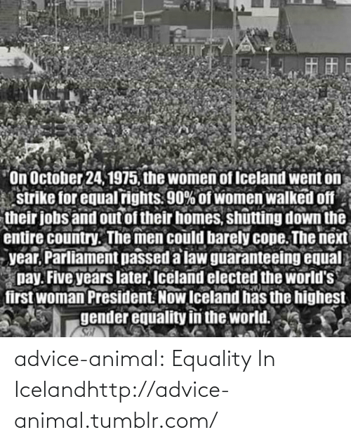 President Now: On October 24, 1975, the women of Iceland went on  strike for equal rights. 90% of women walked off  their jobs and out of their homes, shutting down the  entire country. The men could barely cope. The next  year, Parliament passed a law guaranteeing equal  pay. Five years later, Iceland elected the world's  first woman President. Now Iceland has the highest  gender equality in the world.  Sol advice-animal:  Equality In Icelandhttp://advice-animal.tumblr.com/