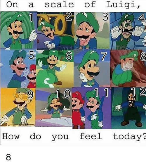Today, Dank Memes, and How: On  scale of Luigi  How do you feel today? 8