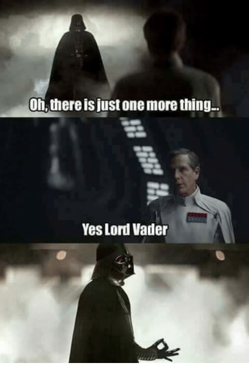 Yes Lord: On, there is just one more thing  Yes Lord Vader