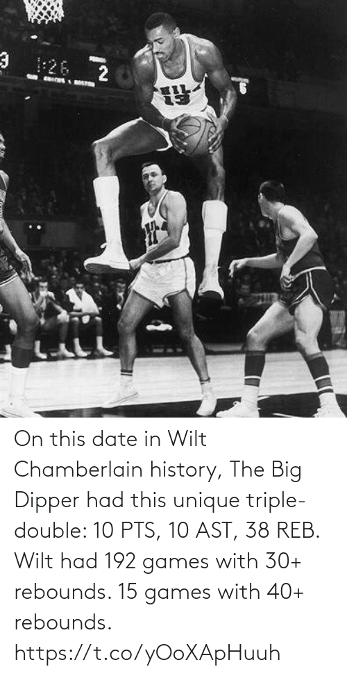 triple double: On this date in Wilt Chamberlain history, The Big Dipper had this unique triple-double: 10 PTS, 10 AST, 38 REB.   Wilt had 192 games with 30+ rebounds. 15 games with 40+ rebounds. https://t.co/yOoXApHuuh