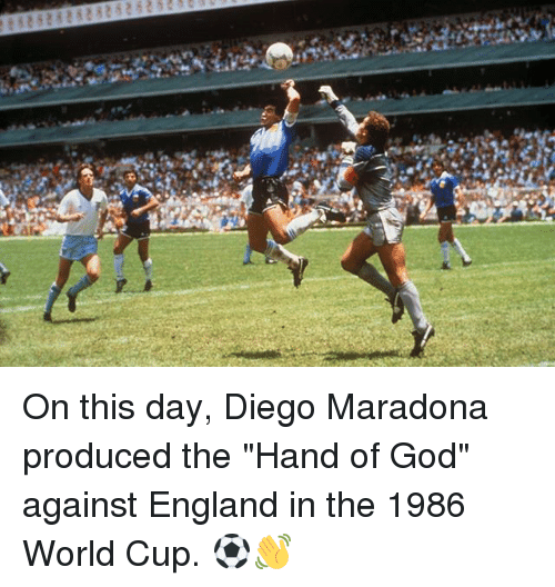 """Diego Maradona: On this day, Diego Maradona produced the """"Hand of God"""" against England in the 1986 World Cup. ⚽️👋"""
