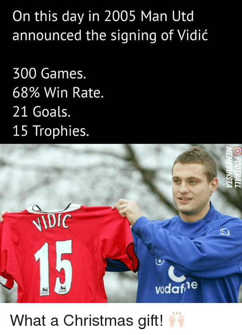 Christmas, Goals, and Memes: On this day in 2005 Man Utd  announced the signing of Vidić  300 Games.  68% Win Rate.  21 Goals  15 Trophies.  NIDIC  vodafhe What a Christmas gift! 🙌🏻