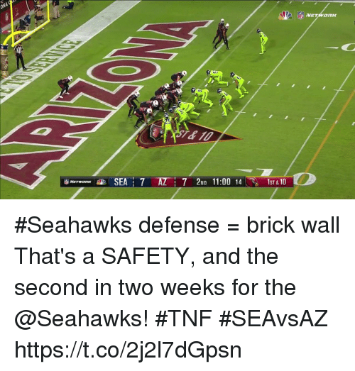 Memes, Seahawks, and 🤖: ONA  7 2ND 11:00 141ST & 10 #Seahawks defense = brick wall  That's a SAFETY, and the second in two weeks for the @Seahawks!  #TNF #SEAvsAZ https://t.co/2j2l7dGpsn