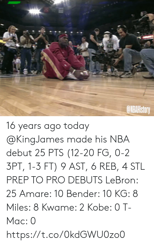 mac: ONBAHistory 16 years ago today @KingJames made his NBA debut 25 PTS (12-20 FG, 0-2 3PT, 1-3 FT) 9 AST, 6 REB, 4 STL   PREP TO PRO DEBUTS LeBron: 25 Amare: 10 Bender: 10 KG: 8 Miles: 8 Kwame: 2 Kobe: 0 T-Mac: 0   https://t.co/0kdGWU0zo0