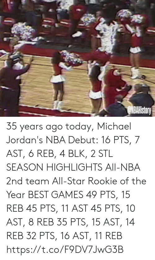 All Star: ONBAHistory 35 years ago today, Michael Jordan's NBA Debut: 16 PTS, 7 AST, 6 REB, 4 BLK, 2 STL  SEASON HIGHLIGHTS All-NBA 2nd team All-Star Rookie of the Year  BEST GAMES 49 PTS, 15 REB 45 PTS, 11 AST 45 PTS, 10 AST, 8 REB 35 PTS, 15 AST, 14 REB 32 PTS, 16 AST, 11 REB https://t.co/F9DV7JwG3B