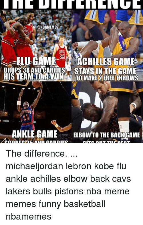 Nba Meme: ONBAMEMES  ELU-GAME  ACHILLES GAME  STAYS IN THE GAME  HIS TEAM TOIA WIN  TO MAKE 2 FREE THROWS  932  ANKLE GAME  ELBOW TO THE BACK GAME The difference. ... michaeljordan lebron kobe flu ankle achilles elbow back cavs lakers bulls pistons nba meme memes funny basketball nbamemes