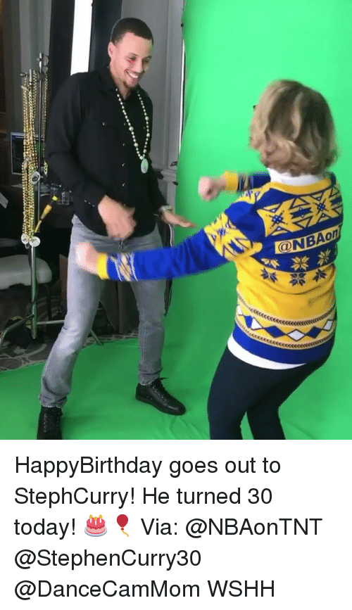 Happybirthday: ONBAon HappyBirthday goes out to StephCurry! He turned 30 today! 🎂🎈 Via: @NBAonTNT @StephenCurry30 @DanceCamMom WSHH