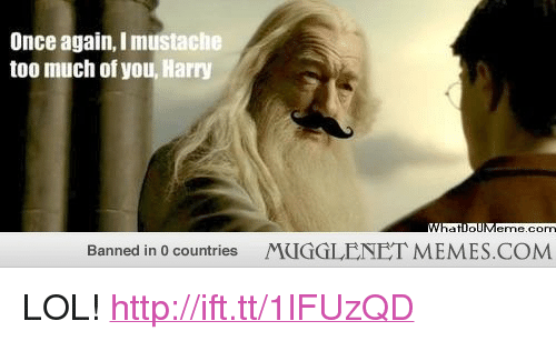 """lol: Once again, I mustache  too much of you, Harry  com  Banned in 0 countries  MUGGLENET MEMES.COM <p>LOL!  <a href=""""http://ift.tt/1lFUzQD"""">http://ift.tt/1lFUzQD</a></p>"""