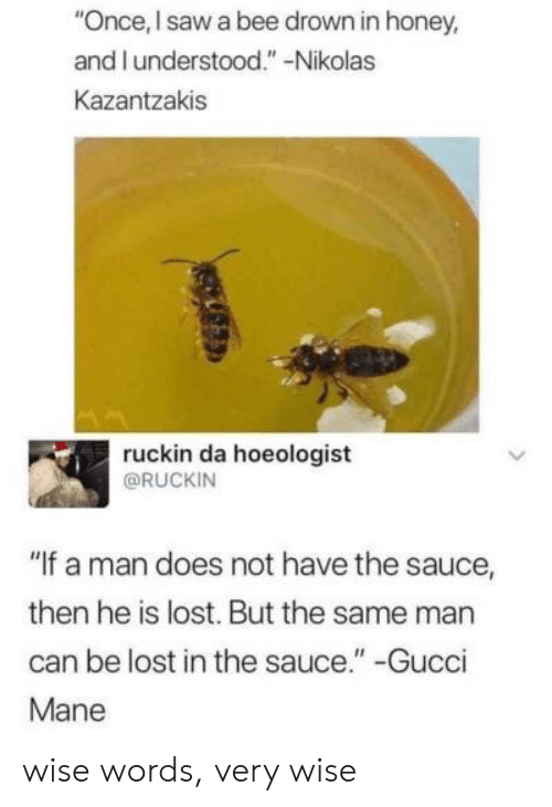 """Gucci Mane: """"Once, I saw a bee drown in honey,  and I understood."""" -Nikolas  Kazantzakis  ruckin da hoeologist  @RUCKIN  """"If a man does not have the sauce,  then he is lost. But the same man  can be lost in the sauce."""" -Gucci  Mane wise words, very wise"""