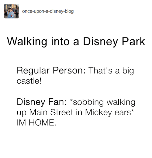 Disney, Memes, and Blog: once-upon-a-disney-blog  Walking into a Disney Park  Regular Person: That's a big  castle!  Disney Fan: sobbing walking  p Main Street in Mickey ears  IM HOME.