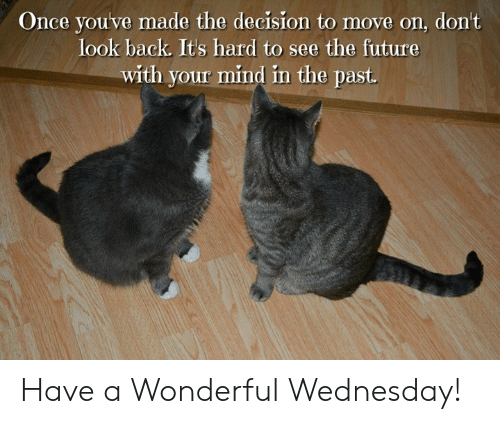 Have A Wonderful Wednesday: Once youve made the decision to move on, don't  look back. Its hard to see the future  with your mind in the past. Have a Wonderful Wednesday!