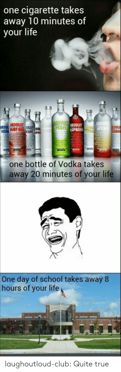 absolut: one cigarette takes  away 10 minutes of  your life  ABSOLUT  SPBER  SOL  one bottle of Vodka takes  away 20 minutes of your life  One day of school takes away 8  hours of your life laughoutloud-club:  Quite true