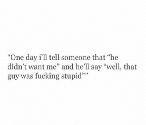 """Fucking Stupid: """"One day i'll tell someone that """"he  didn't want me"""" and he'll say """"well, that  guy was fucking stupid""""""""  9  12"""