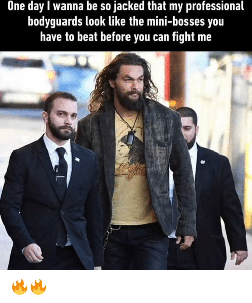 Memes, Fight, and 🤖: One day l wanna be so jacked that my professional  bodyguards look like the mini-bosses you  have to beat before you can fight me 🔥🔥