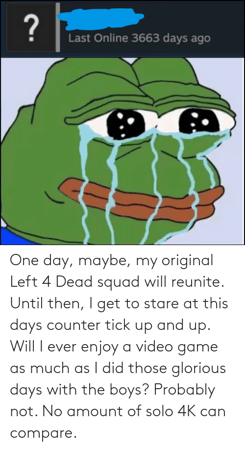 left 4 dead: One day, maybe, my original Left 4 Dead squad will reunite. Until then, I get to stare at this days counter tick up and up. Will I ever enjoy a video game as much as I did those glorious days with the boys? Probably not. No amount of solo 4K can compare.