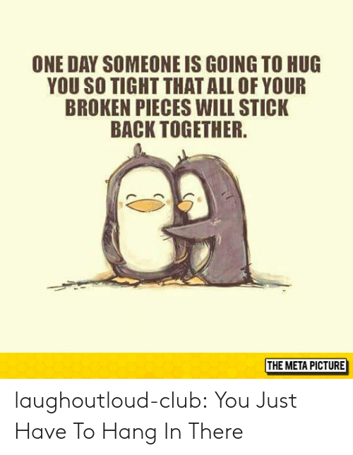 hang in there: ONE DAY SOMEONE IS GOING TO HUG  YOU SO TIGHT THATALL OF YOUR  BROKEN PIECES WILL STICK  BACK TOGETHER  THE META PICTURE laughoutloud-club:  You Just Have To Hang In There