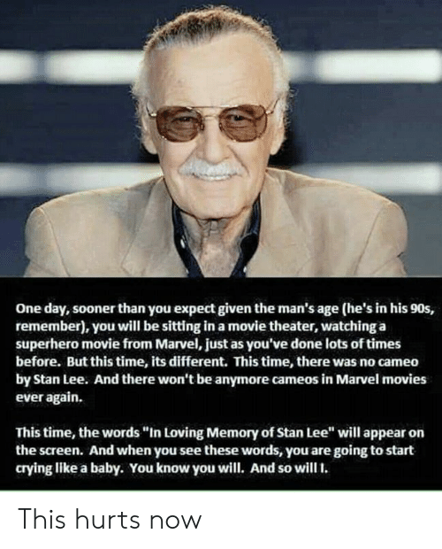 """like a baby: One day, sooner than you expect given the man's age (he's in his 90s,  remember), you will be sitting in a movie theater, watching a  superhero movie from Marvel, just as you've done lots of times  before. But this time, its different. This time, there was no cameo  by Stan Lee. And there won't be anymore cameos in Marvel movies  ever again.  This time, the words """"In Loving Memory of Stan Lee"""" will appear on  the screen. And when you see these words, you are going to start  crying like a baby. You know you will. And so will. This hurts now"""
