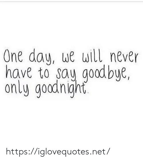 goodnight: One day, we will never  have to say goodbye,  only goodnight https://iglovequotes.net/