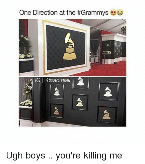 youre killing me: One Direction at the #Grammys  IG II @zac niall Ugh boys .. you're killing me