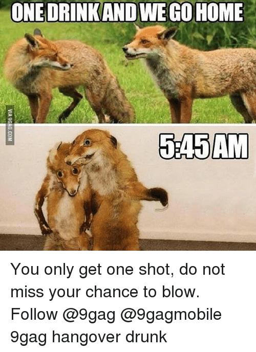 9gag, Drunk, and Memes: ONE DRINKANDWEGO HOME  545AM You only get one shot, do not miss your chance to blow. Follow @9gag @9gagmobile 9gag hangover drunk