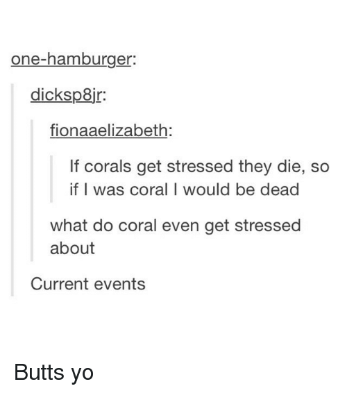 Current Event: one-hamburger  dicksp8jr:  fionaaelizabeth  If corals get stressed they die, so  if I was coral I would be dead  what do coral even get stressed  about  Current events Butts yo