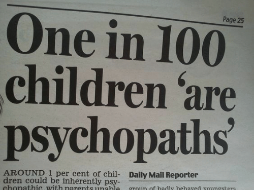 Daily Mail: One in 100  children 'are  psychopaths  Page 25  AROUND 1 per cent of chil- Daily Mail Reporter  dren could be inherently psy-  chonathic with narents unahle  groun of badly hehaved voungsters.