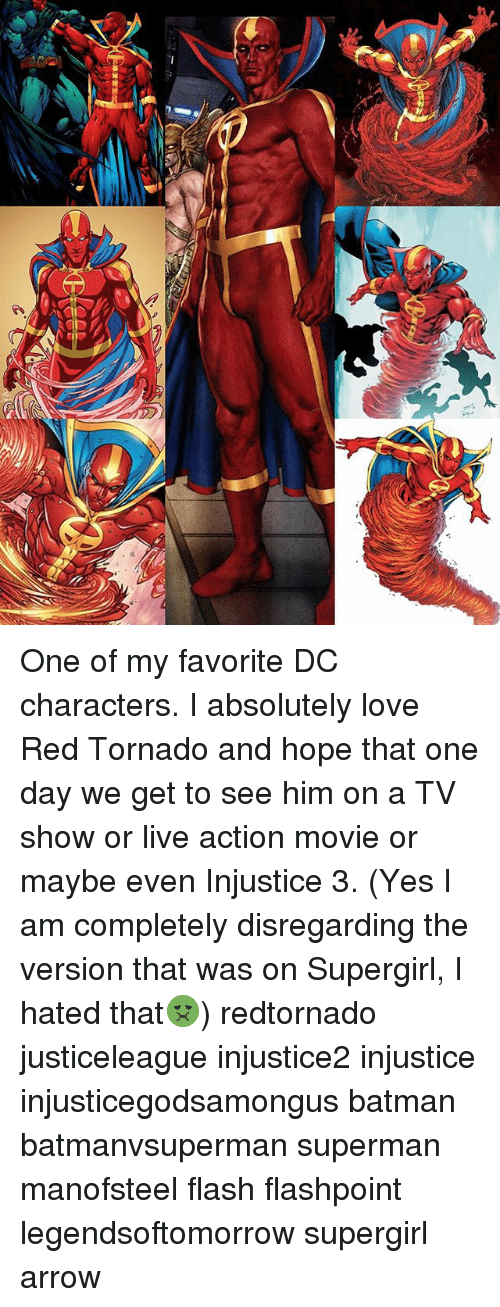 dc characters: One of my favorite DC characters. I absolutely love Red Tornado and hope that one day we get to see him on a TV show or live action movie or maybe even Injustice 3. (Yes I am completely disregarding the version that was on Supergirl, I hated that🤢) redtornado justiceleague injustice2 injustice injusticegodsamongus batman batmanvsuperman superman manofsteel flash flashpoint legendsoftomorrow supergirl arrow