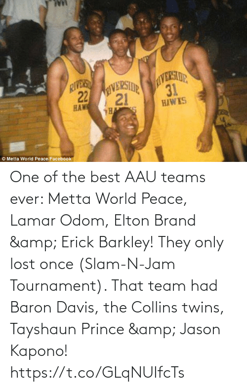 Baron Davis: One of the best AAU teams ever: Metta World Peace, Lamar Odom, Elton Brand & Erick Barkley!   They only lost once (Slam-N-Jam Tournament). That team had Baron Davis, the Collins twins, Tayshaun Prince & Jason Kapono! https://t.co/GLqNUIfcTs