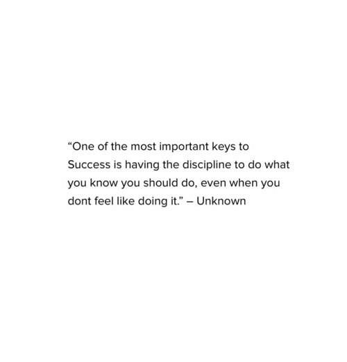 """keys to success: """"One of the most important keys to  Success is having the discipline to do what  you know you should do, even when you  dont feel like doing it."""" Unknown"""