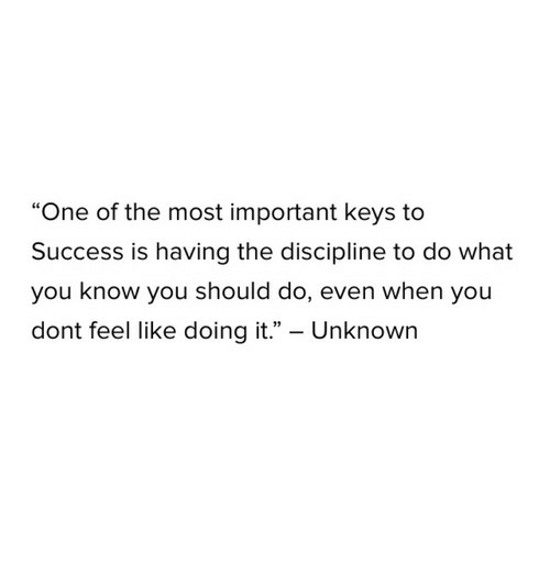 """keys to success: """"One of the most important keys to  Success is having the discipline to do what  you know you should do, even when you  dont feel like doing it."""" - Unknown"""