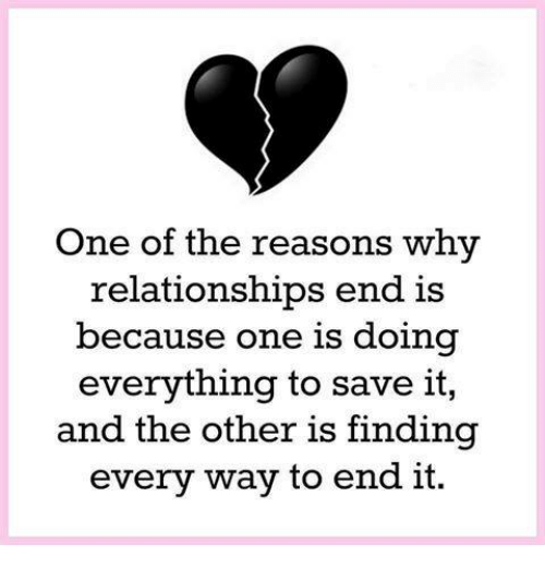 ending a relationship for the wrong reasons