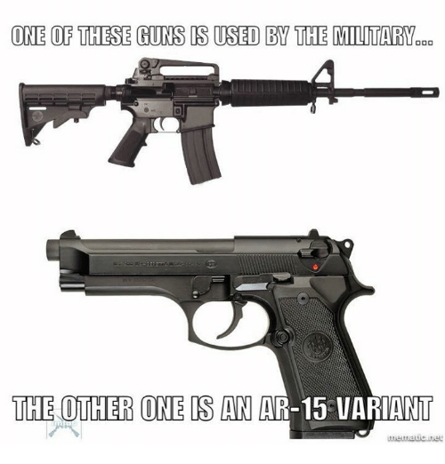 Guns, Memes, and Military: ONE OF THESE GUNS IS USED BY THE MILITARY  THE OTHER ONE IS AN  AR-15 VARIANT