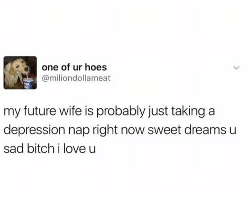 Funny, Sadness, and Nap: one of ur hoes  @miliondollameat  my future wife is probably just taking a  depression nap right now sweet dreams u  sad bitch i love u