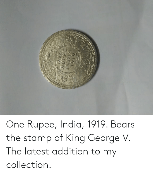 stamp: One Rupee, India, 1919. Bears the stamp of King George V. The latest addition to my collection.