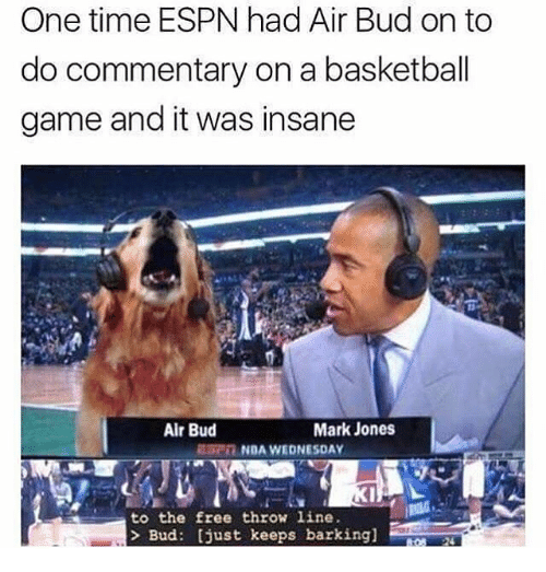 nda: One time ESPN had Air Bud on to  do commentary on a basketball  game and it was insane  Air Bud  Mark Jones  NDA WEDNESDAY  to the free throw line  Bud: [just keeps barking]