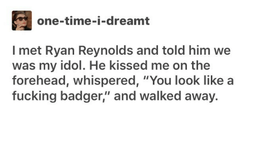 """Ryan Reynolds: one-time-i-dreamt  I met Ryan Reynolds and told him we  was my idol. He kissed me on the  forehead, whispered, """"You look like  fucking badger,"""" and walked away."""