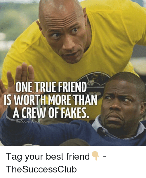 One True: ONE TRUE FRIEND  IS WORTHMORE THAN  A CREW OF FAKES  he Success Cl Tag your best friend👇🏼 - TheSuccessClub