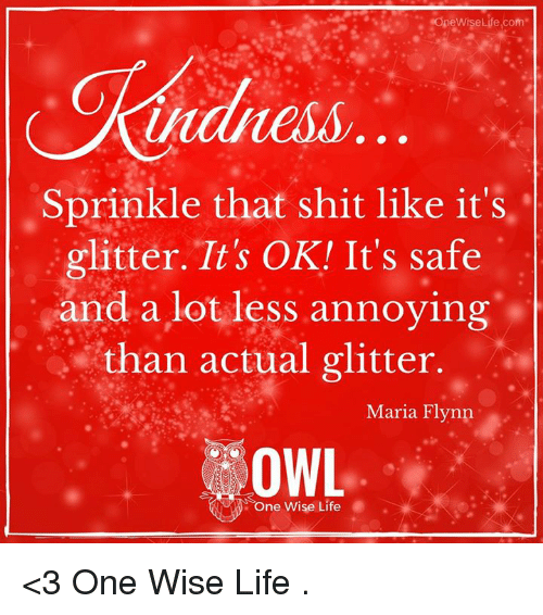 Sprinkle: One WiseLife com  Sprinkle that shit like it's  glitter. It's OK! It's safe  and a lot less annoying  than actual glitter.  Maria Flynn  OWL  One wise Life <3 One Wise Life  .