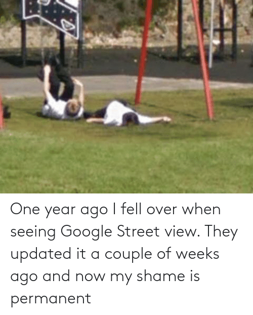 seeing: One year ago I fell over when seeing Google Street view. They updated it a couple of weeks ago and now my shame is permanent