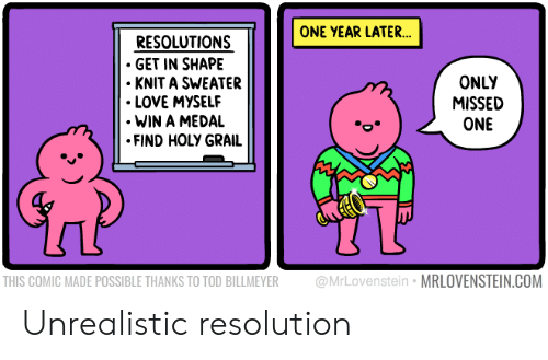 knit: ONE YEAR LATER...  RESOLUTIONS  GET IN SHAPE  KNIT A SWEATER  LOVE MYSELF  WIN A MEDAL  FIND HOLY GRAIL  ONLY  MISSED  ONE  UT  THIS COMIC MADE POSSIBLE THANKS TO TOD BILLMEYER @MrLovenstein MRLOVENSTEIN.COM Unrealistic resolution