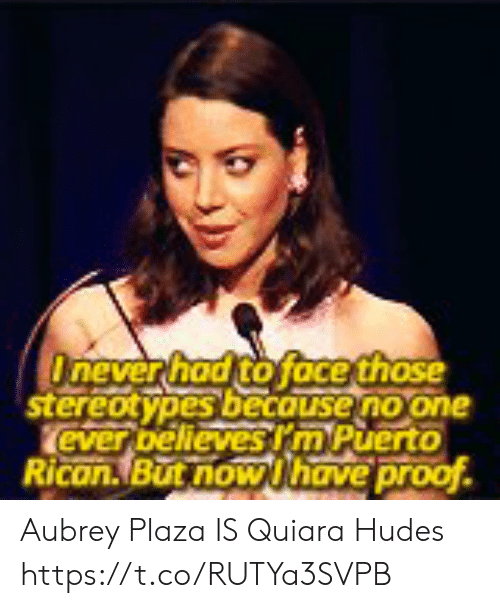 aubrey: Onever had to face those  stereotypes becouse no one  ever bellevesrm Puerto  Rican.But now Uhave proof Aubrey Plaza IS Quiara Hudes https://t.co/RUTYa3SVPB